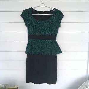 Animal print peplum dress.